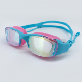 Pink blue goggle with side buckle and earplug
