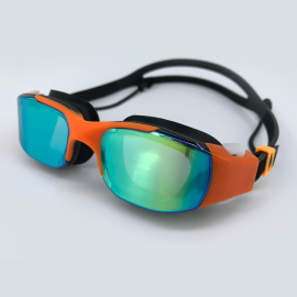 Orange black goggle with side buckle and earplug