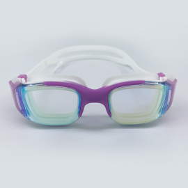 Purple white goggle with side buckle and earplug