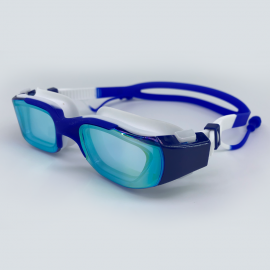 Dark blue goggle with side buckle and earplug