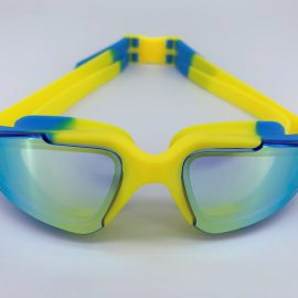 Blue yellow goggle with back buckle