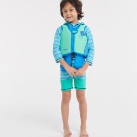 Neoprene Kids Swim Float Suit Green M Size