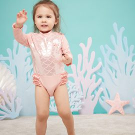 Mermaid printed sun protection suit