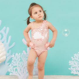 Mermaid printed one piece pink nude color